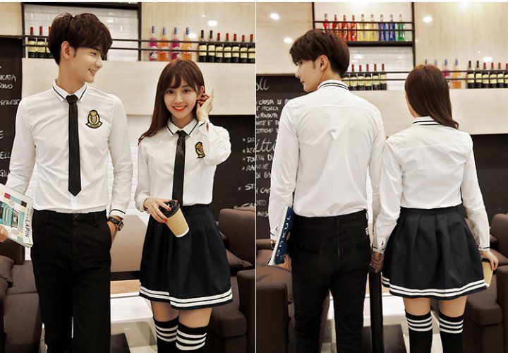 CC01214 Long sleeve school uniforms college style couple clothes
