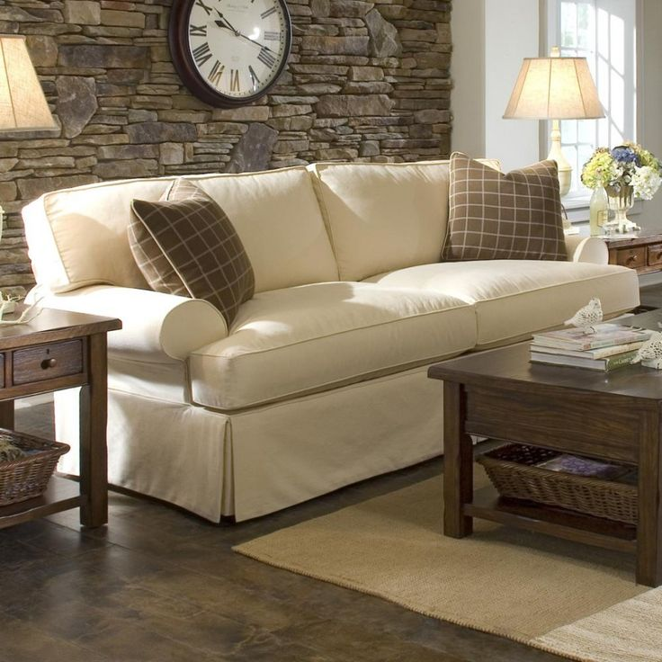 classy rustic cottage style living room decor ideas with cream fabric sofa using double brown plaid
