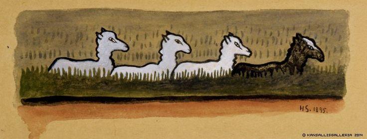 Hugo Simberg, Lampaat Rivissä, 1895, vesiväri ja guassi, liimattu etsauspaperille