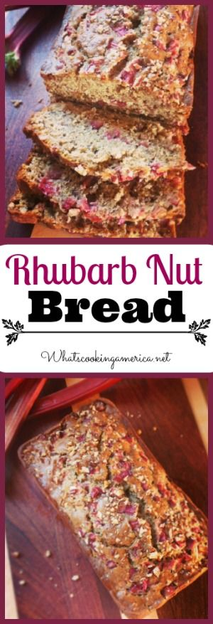 Rhubarb Nut Bread Recipe  | whatscookingamerica.net  | #rhubarb #nut #bread #quickbread