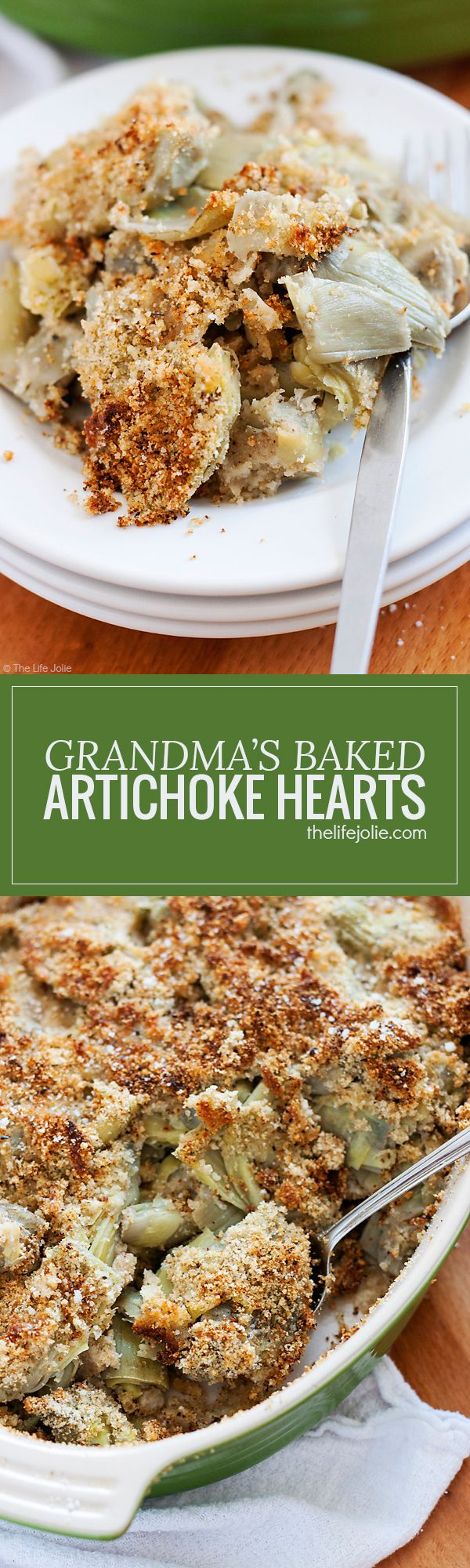 Grandma's Baked Artichoke Hearts is one of my favorite holiday side dishes. This is such an easy recipe and can even be made ahead of time. This is made with Parmesan cheese, bread crumbs and garlic powder and is a delicious addition to your Thanksgiving or Christmas dinner!