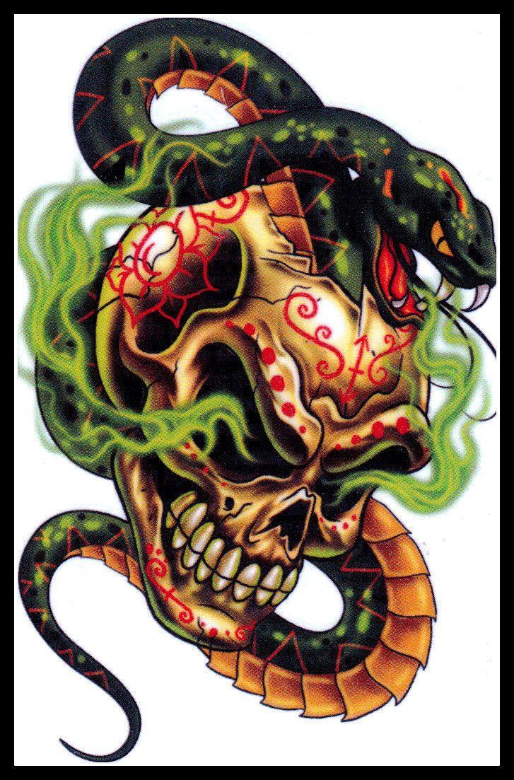 Groot doodshoofd groene slang STAMMEN tijdelijke tatoeage ~ KOSTUUM ~ Party Favor picclick.com