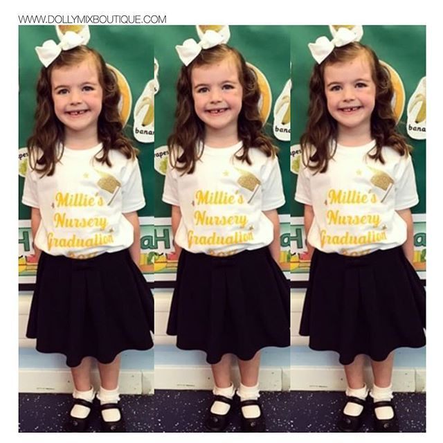 Lots of your Little Cuties Graduating from Nursery 🎓💛✨ Here's Millie looking Super Sweet! Need a Personalised Tshirt? Simply choose our CREATE YOUR OWN TOP option >>> www.dollymixboutique.com