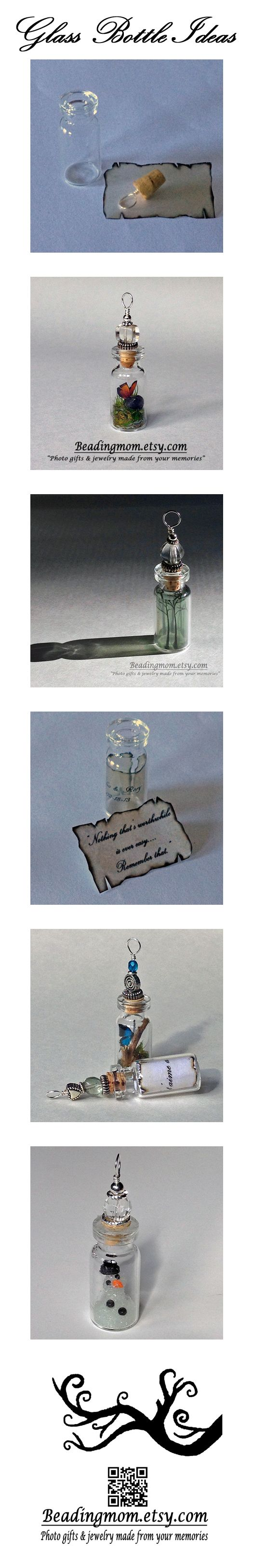 Glass bottle pendant ideas for terrarium, message in a bottle, and DIY ideas, handmade on etsy by beadingmom