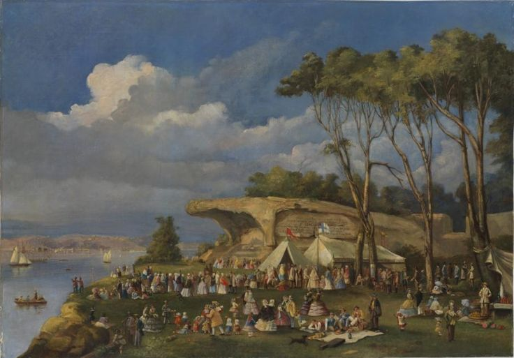 Picnic at Mrs Macquarie's Chair, 1855