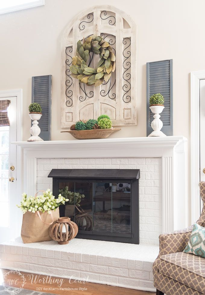 Spring fireplace mantel and hearth. Try displaying flowers or greenery in a tote instead of a basket or traditional container.