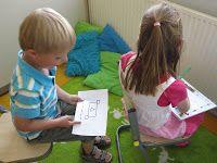 Coöperatief leren; het achterste kind vertelt aan het voorste kind wat het moet tekenen (opdrachtkaartjes van de leerkracht): teken een driehoek, een kleine cirkel erop, 2 streepjes eronder......