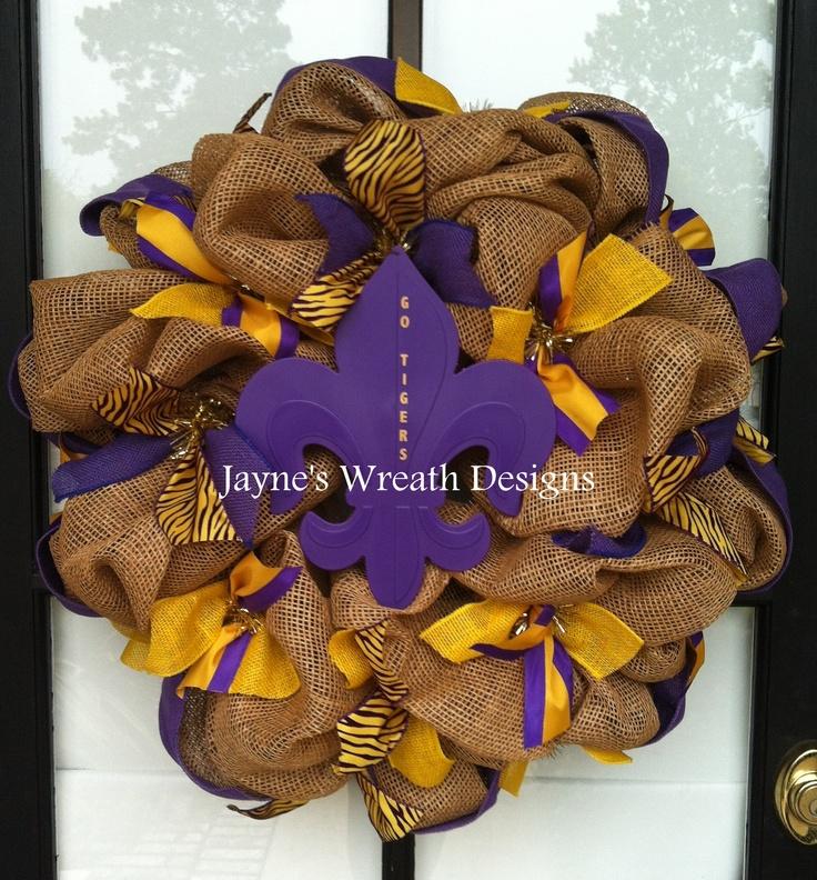 LSU Wreath with Burlap & Fleur de Lis