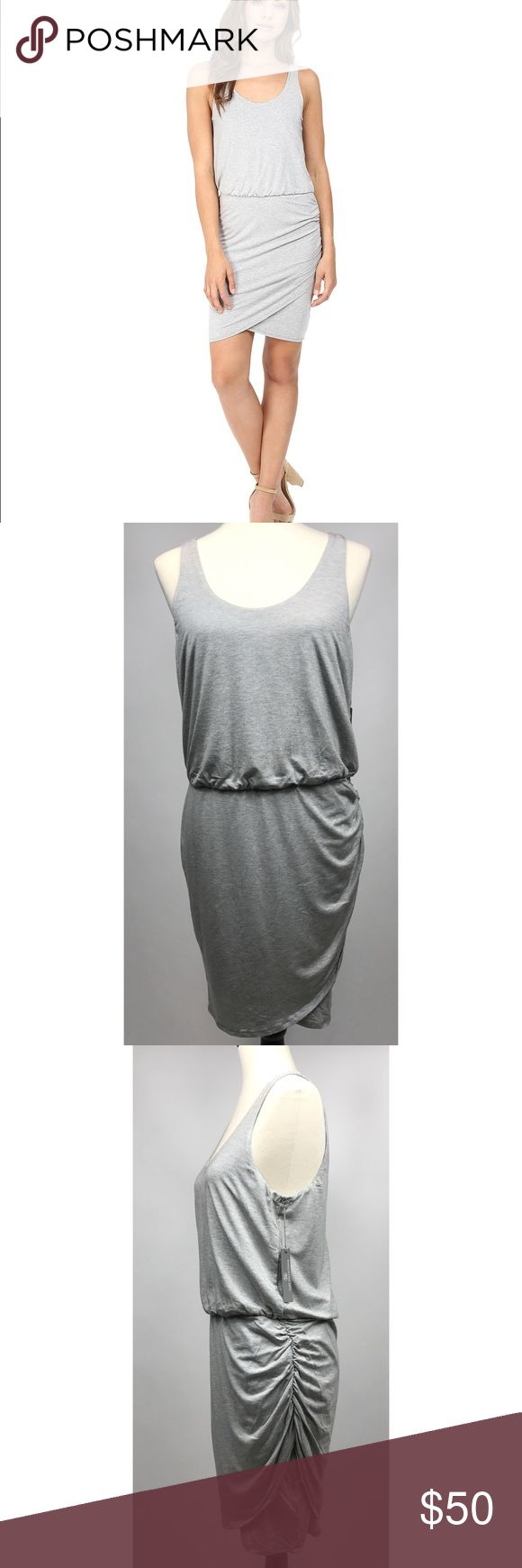 "Tart Collections Jan Dress New with Tags - Tart Collections Jan Dress   Tulip skirt with ruching on the side   Sleeveless, scoop neckline  Light gray  Size Large  Bust 17""  Waist 15 1/2""  Length 36""  95% Modal / 5% Spandex Tart Dresses"