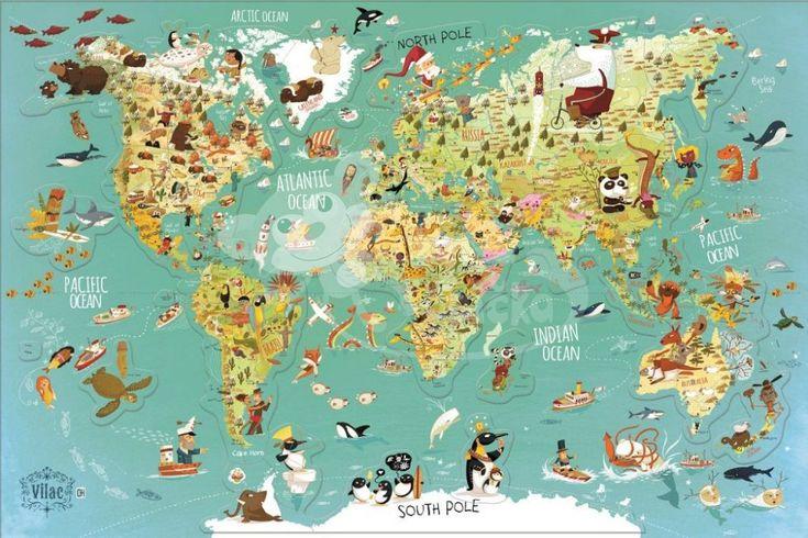 Magnetická mapa - Vilac - Mapa světa anglické texty