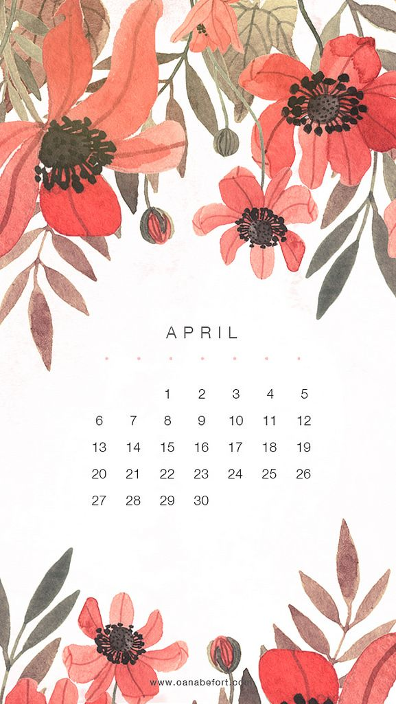April 2014 floral watercolor calendar by Oana Befort.