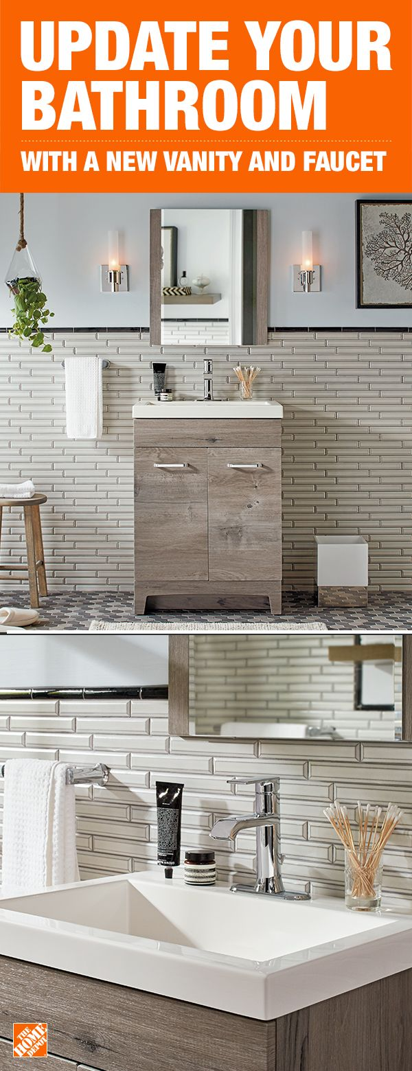 Create A Rustic Bathroom With This Simple And On Trend Vanity The Minimal Design Surrounded By A Mix Of Natural And Industrial Decor Creates A Calming