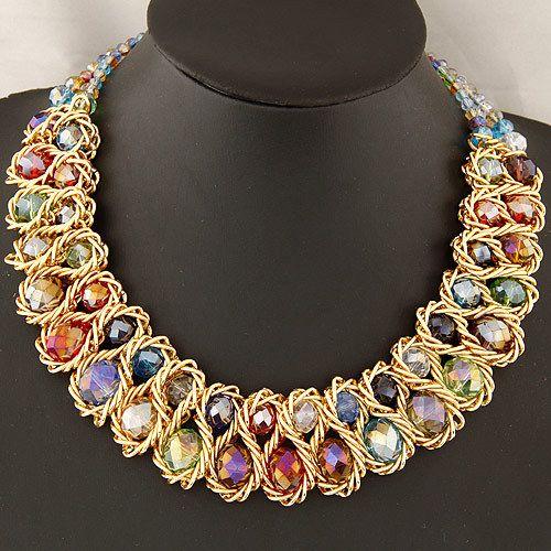 Collar de moda para mujeres 2015 vintage cadena del oro del collar grande doble grano cristalino del ahogador del collares y colgantes collar llamativo(China (Mainland))