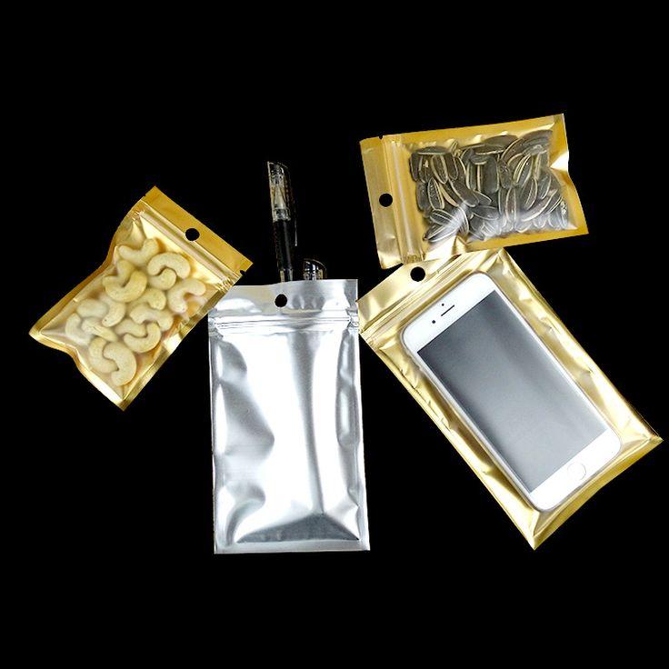 22*30cm,100 X Dumb Aluminum ziplock bag inner golden with one side matte clear - Resuable tea plastic pouches Zipper clip seal #Affiliate