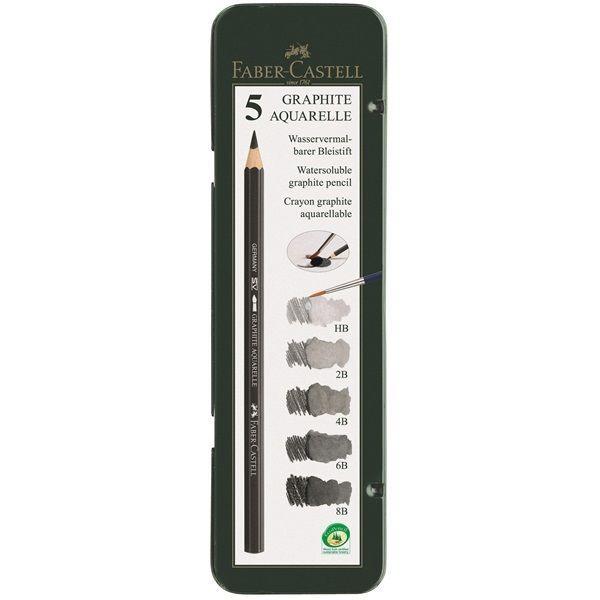 Faber-Castell Watersoluble pencil GRAPHITE AQUAREL Tin 5 8B 6B 4B 2B HB Sketch #FaberCastell