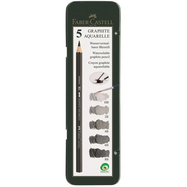Faber-Castell Watersoluble pencil GRAPHITE AQUAREL Tin 5 8B 6B 4B 2B HB Sketch #FaberCastell