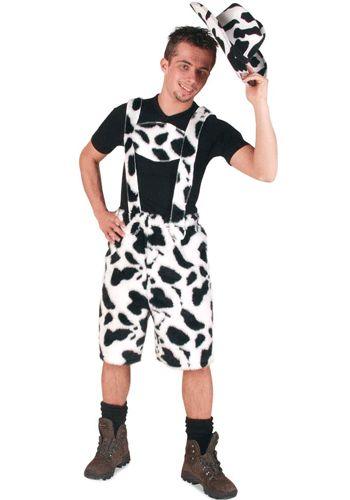 Korte lederhose met koeienprint. Een stoere lederhose in koeien stijl. Met deze lederhose kunt u op elk feest terecht. Oktoberfest, bierfeest of apres ski, overal staat u in de belangstelling met deze koeien lederhose.