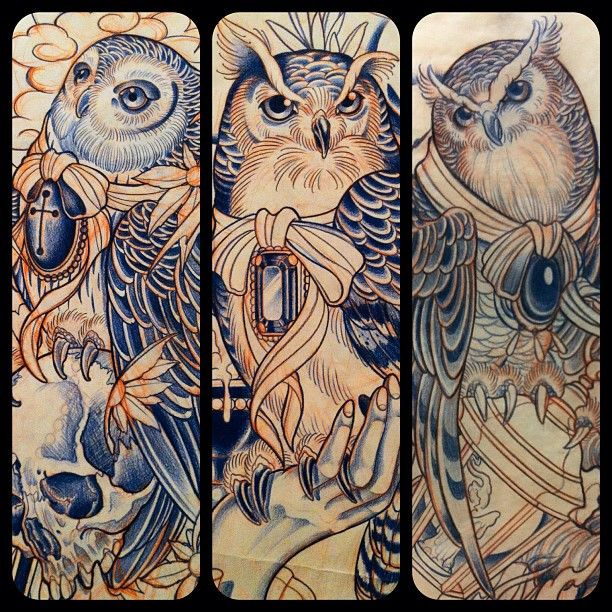 Owls. #tattoo #owltattoo - @en_ddtw- #webstagram
