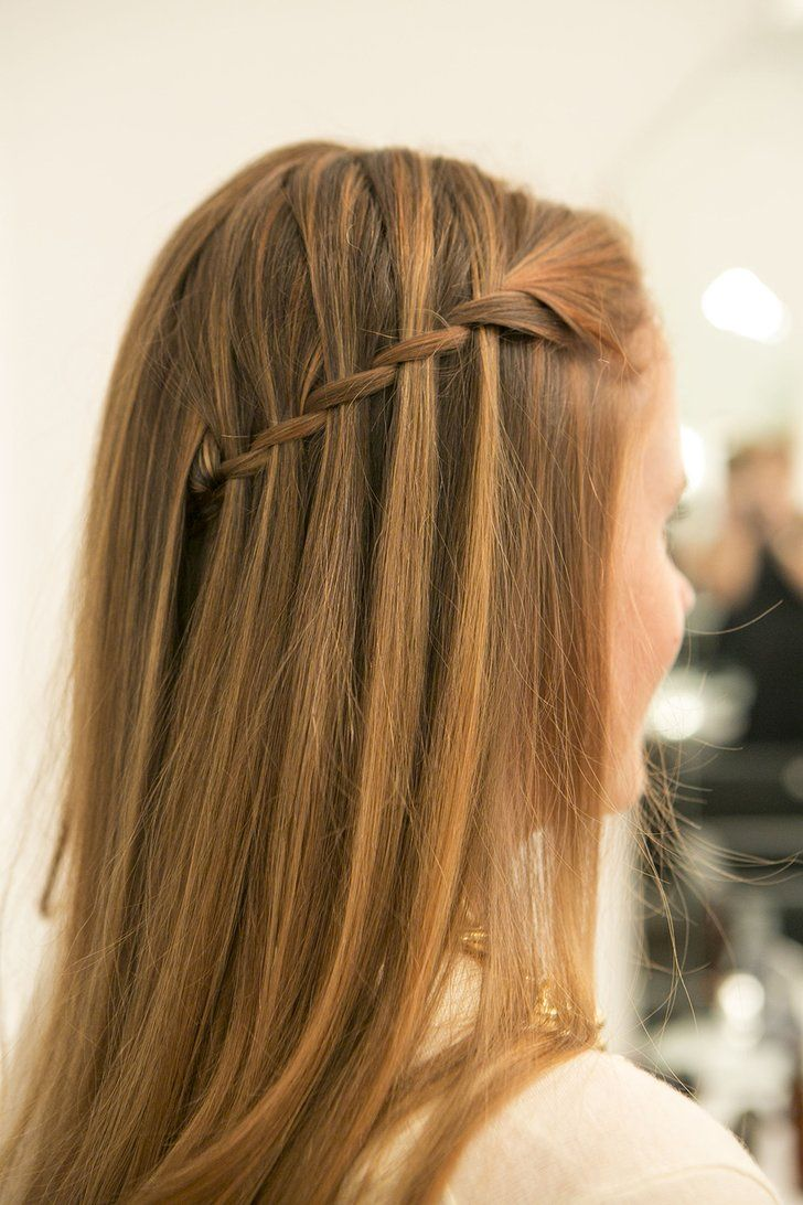 Pin for Later: Learn How to DIY the Waterfall Braid Once and For All  Drop your layers over the pinned-back braid, and admire your pinnable hair! Source: Caroline Voagen Nelson