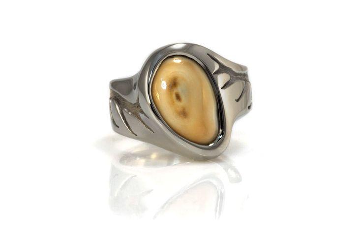 14K white gold with antler designs and elk ivory. Original custom design elk ivory and 14K white gold mens ring by Robert Giede Design RG1817 RG1817