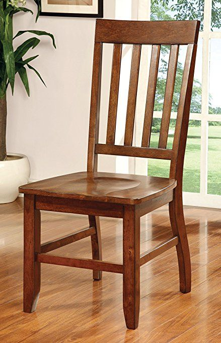 Amazon.com - Furniture of America Castile Transitional Dining Chair, Dark Oak, Set of 2 - Chairs