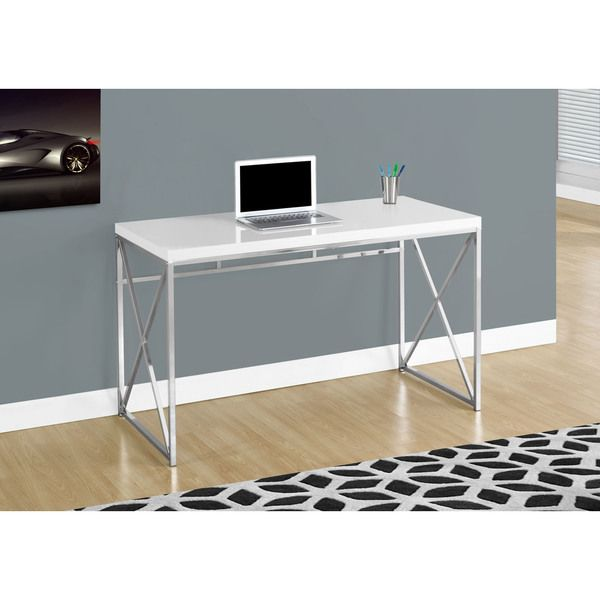 Glossy White and Chrome Metal Computer Desk
