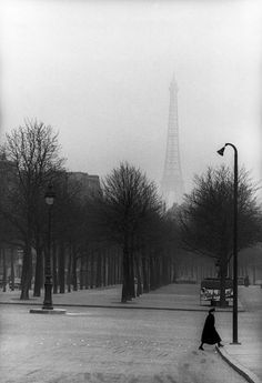 I SEE YOU THERE, MATERIALIZING IN THE FOG, AS MOTHER NATURE (JEALOUS!) TRIES IN VAIN TO ERASE YOUR MAGNIFICENT DOMINANCE OVER THIS PART OF HEAVEN.--SLA/HENRI CARTIER-BRESSON, PARIS 1954