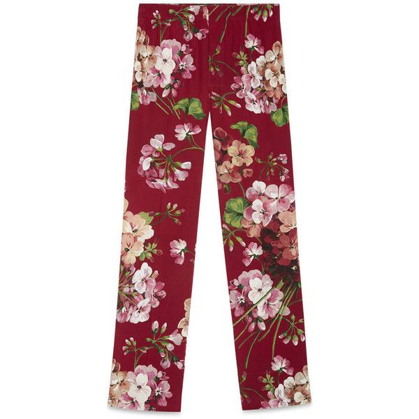 Gucci Blooms Print Pyjama Pant (£525) ❤ liked on Polyvore featuring pants, cerise, pants & shorts, ready to wear, women, floral trousers, red trousers, oversized pocket pants, floral printed pants and floral pants