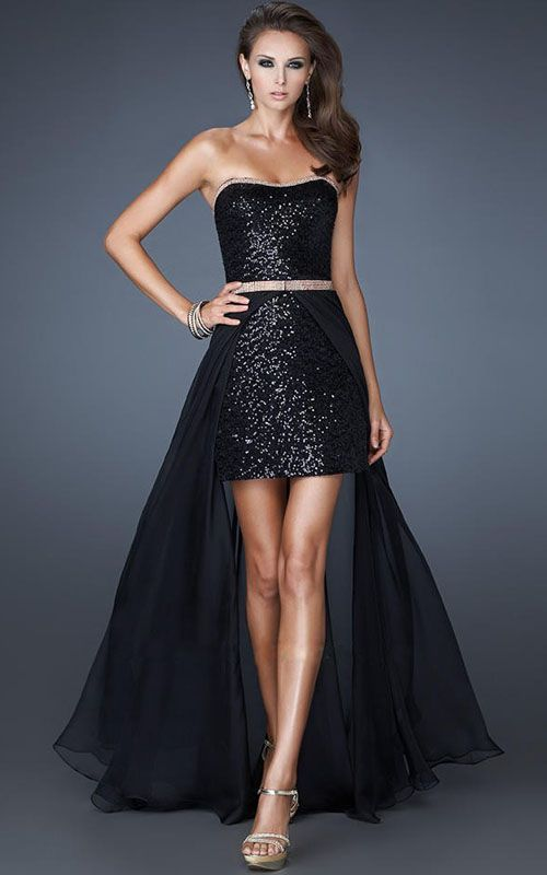 b2c8dce36a0 Short Front Long Back Black Sparkly Prom Dress