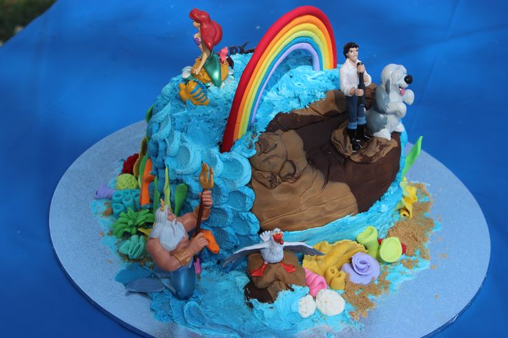 The Little Mermaid cake with figurines