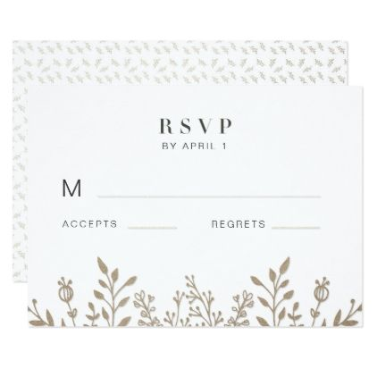Elegant Rose Gold Leafy Frame Wedding RSVP Card - wedding invitations diy cyo special idea personalize card