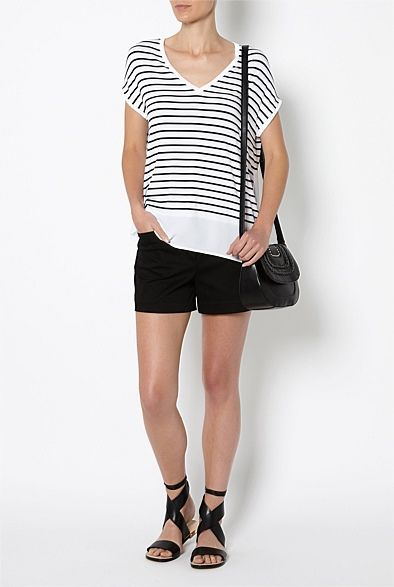 Stripe Spliced Hem Tee