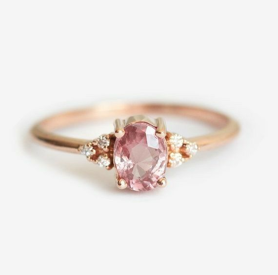 A Beautiful Pink Stone With Small Side Diamonds In A 14k Yellow Gold Setting Peach Sapphire