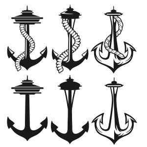 Seattle Washington Space Needle Anchor Cuttable Design Cut File. Vector, Clipart, Digital Scrapbooking Download, Available in JPEG, PDF, EPS, DXF and SVG. Works with Cricut, Design Space, Sure Cuts A Lot, Make the Cut!, Inkscape, CorelDraw, Adobe Illustrator, Silhouette Cameo, Brother ScanNCut and other compatible software.