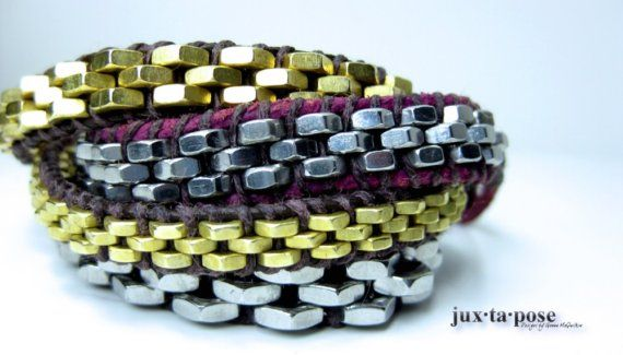 Wrapped bracelet using nuts.  Awesome.