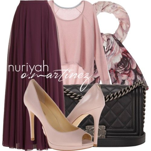 Hijab Outfit by Nuriyah O. Martinez Victoria s Secret pink sweater €44 - victoriassecret.com Halston Heritage skirt €355 - stylebop.com Ivanka Trump sandals €115 - zappos.com Chanel black purse €5.670 - 1stdibs.com Phase Eight scarve €38 - johnlewis.com