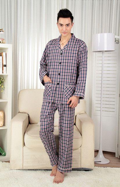 Men's Pajamas Spring And Autumn Sleeping Cotton Woven Classic Plaid Mens Pyjamas Men's Sleep Lounge Pajama Sets 3XL