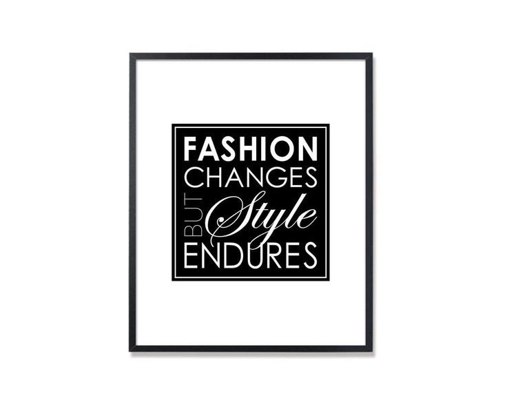 Chanel Quote, Chanel Quote print, Fashion changes but style endures, Fashion Wall Art, Chanel wall art, Coco Chanel quote, Chanel print by Especia on Etsy