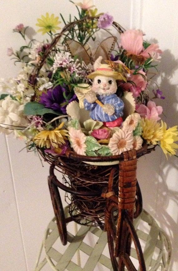 Handmade Small Wooden Bike Plant Holder EASTER Bunny Floral Arrangement by cappelloscreations, $50.00@Etsy