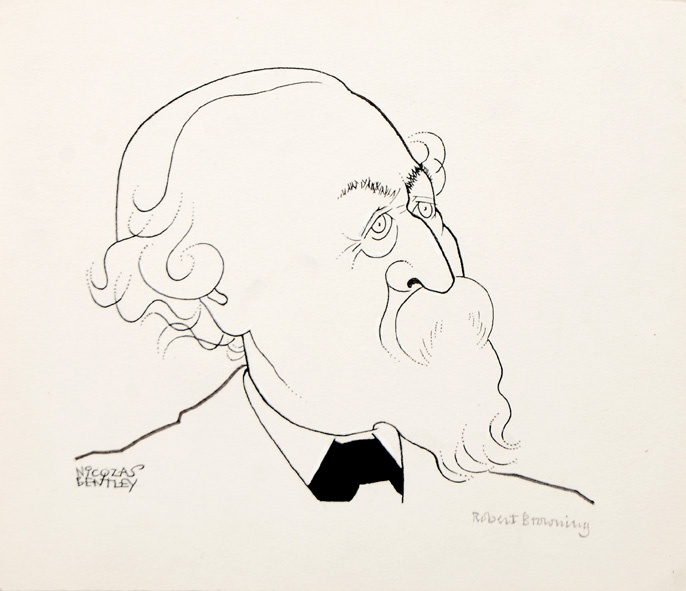 Robert Browning. Sheet size: 151 × 171 mm. Pen and ink on wove paper. Stamped on verso for publication in the Sunday Telegraph.