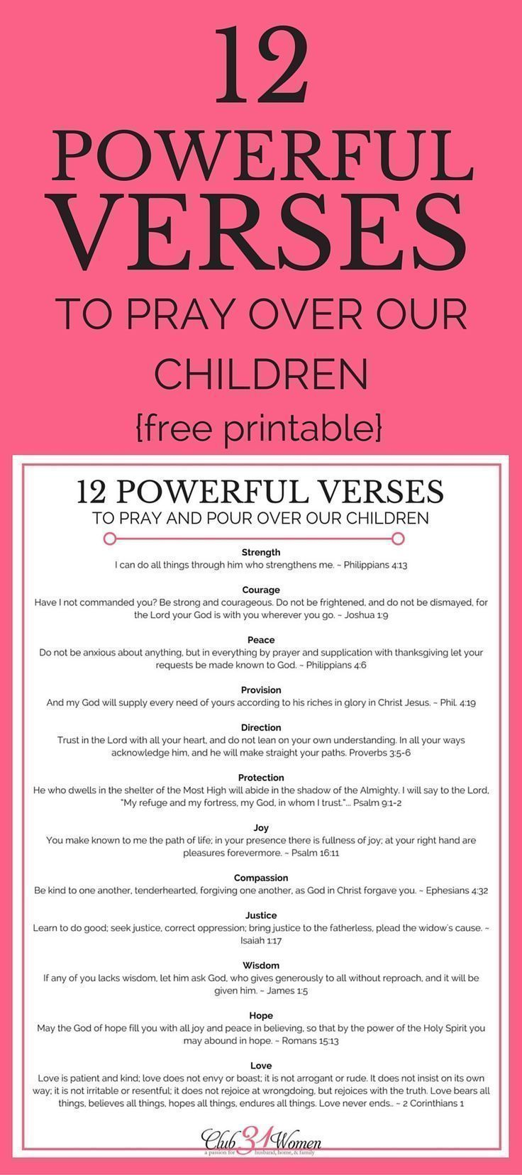 """Whether you're a """"seasoned"""" parent or a brand-new one, what you pray will have a powerful impact on your kids - both now and for the rest of their lives. Here are 12 inspiring and encouraging verses to pray over your children!"""