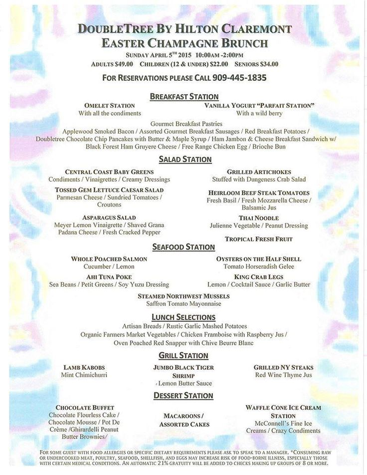 Scrumptious Easter Brunch Menu At Doubletree By Hilton