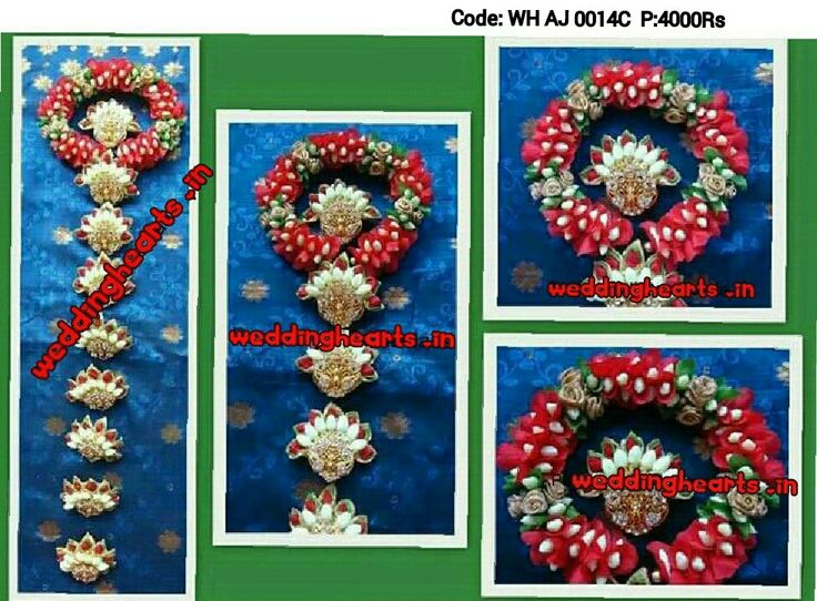 Artificial flower Bridal hairstyle Code:WH  AJ 0014C. Price:4000Rs.Beautifully handmade Jadabillalu with intricate designer work of artificial red and green flower petals, artificial white jasmine buds, artificial golden roses and embellished with jada billalu. Customised and personalised according to the matching colour of wedding wear/outfit.Call or whatsapp @7093192088.