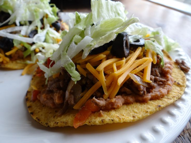 Ground Beef Tostada | Mexican Food Recipes | Pinterest