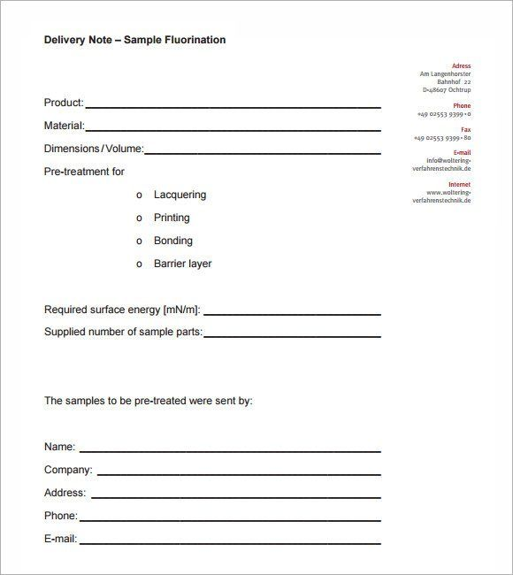 Delivery Note Templates With Images Notes Template Invoice