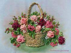 (4) Gallery.ru / Корзинка с цветами - Вышивка лентами, ч4 - silkfantasy