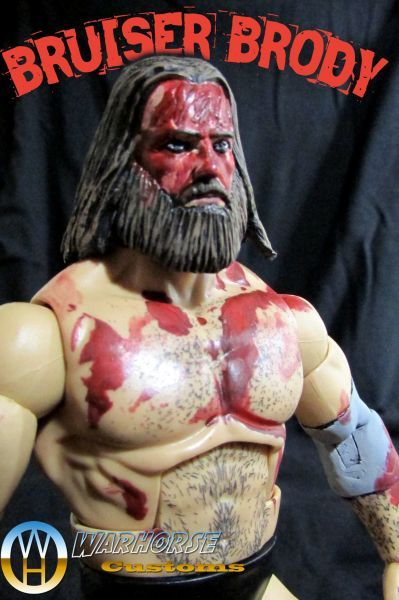 [Bruiser Brody]  This is Bruiser Brody made from an Elite Bruno Sammartino base. Added head from PotC Blackbeard with braids removed and beard resculpted, sculpted elbow and knee braces, and forehead scarring and painted the new or modified parts.