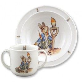 Porcelain Baby Dish Set - Peter Rabbit in Garden. Made in Germany. Food and dishwasher-safe! $29.95: Reutter Porcelain, Gifts Ideas, Rabbit Gardens, Rabbit Toddlers, Potter Peter, Beatrix Potter, Peter Rabbit, Gardens Bowls, Dishes Sets