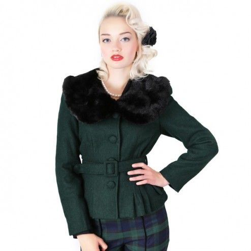 Collectif Geraldine Jacket Green XS t/m 4XL
