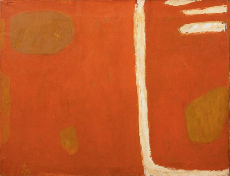 William Scott, [Composition in Ochre, Brown and Cream], 1959, Oil on canvas, 86.3 × 111.7 cm / 34 × 44 in, Godson & Coles, London